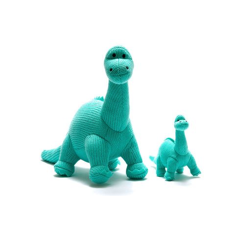 Best Years Ltd Knitted Diplodocus Dinosaur Toy - Ice Blue