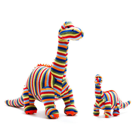Best Years Ltd Knitted Diplodocus Dinosaur Toy - Striped