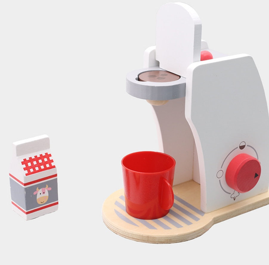Wooden coffee machine breakfast combination afternoon tea - Pretend Play