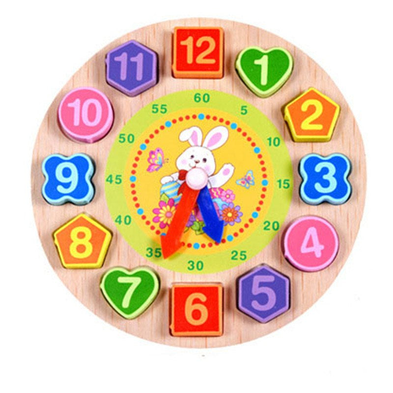 Baby Kids Toys Wooden Cartoon animal model digital string the clock Montessori early education toys