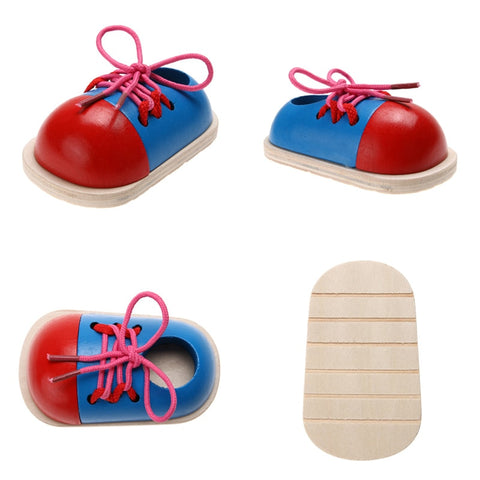 1pcs Toddler Lacing Shoes Early Education Montessori Wooden Toys