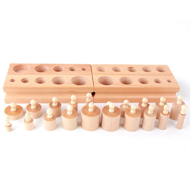Montessori Wooden Toy, Cylinder Blocks Preschool Educational Learning Toys