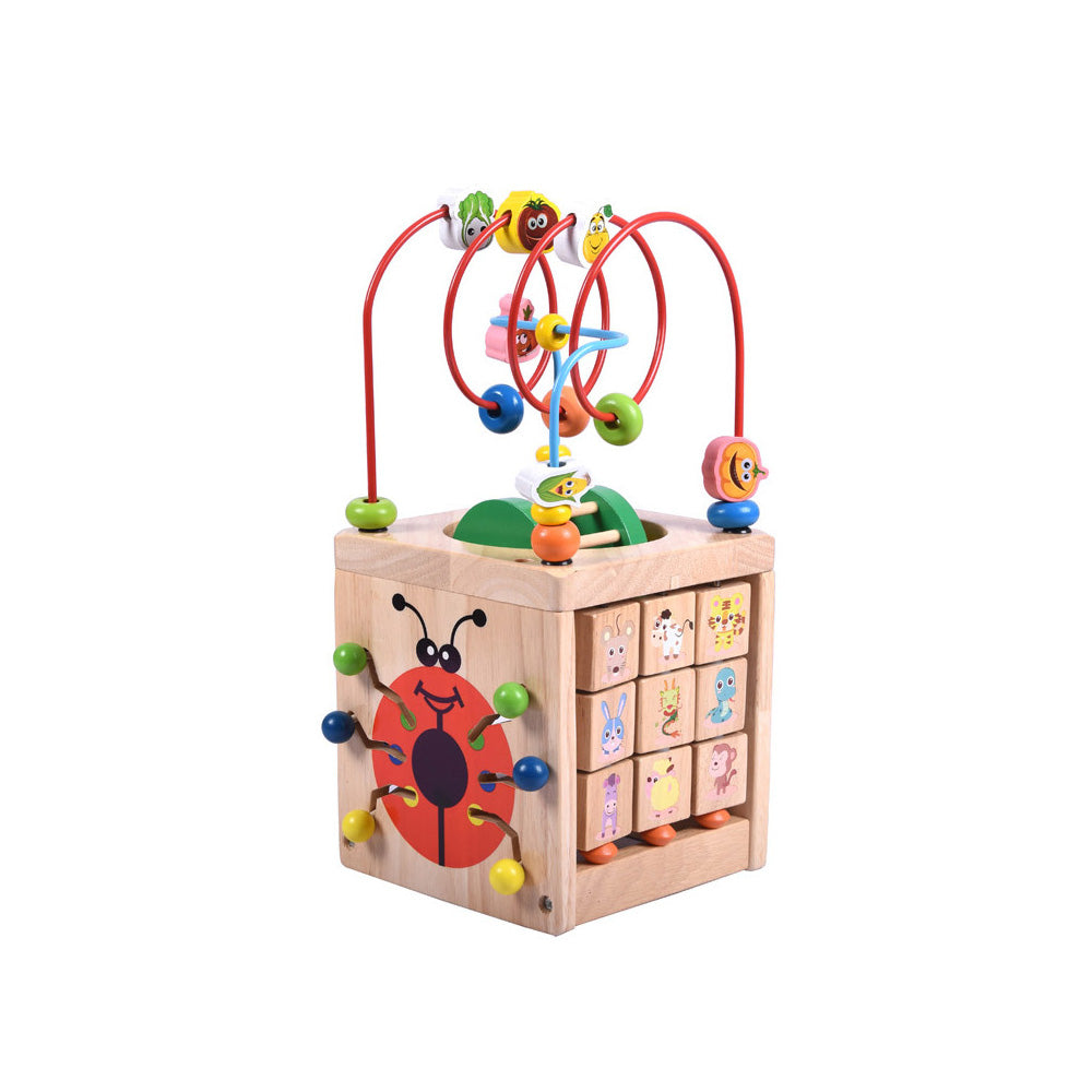 Multi-function 6 in 1 Wooden Math Around Bead Maze Letters Recognition Abacus Clock Learning Educational Toys