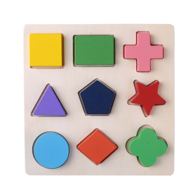 Kids 3D Puzzle Wooden Toys Colorful Geometry Shape Cognition - Early Learning Educational Montessori Toy
