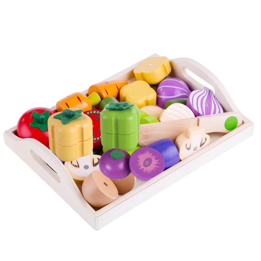 Magnetic Wooden Fruit and Vegetable Combination Cutting Kitchen Toy Set