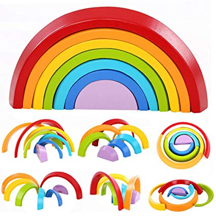 Colorful Wood Rainbow Building Blocks Toys Wooden Blocks Half Circle Baby Colour Recognition Play Game Toy UQ3089H