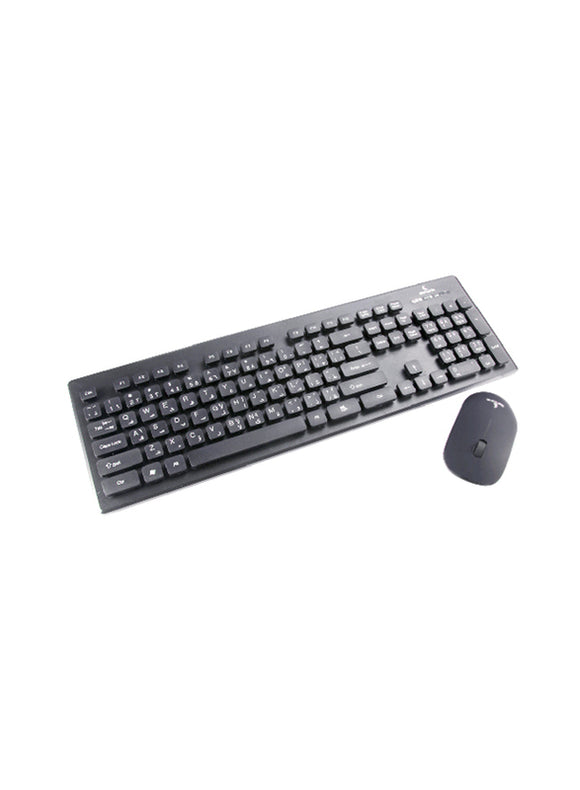 Genuine Wireless Desktop Waterproof Keyboard & Ergonomic Mouse Combo, English/Arabic, Black GN-KM232W