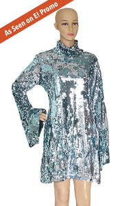 Closeup of HALPERN Ice Blue Sequined Dress Size: IT 42 (US 6)