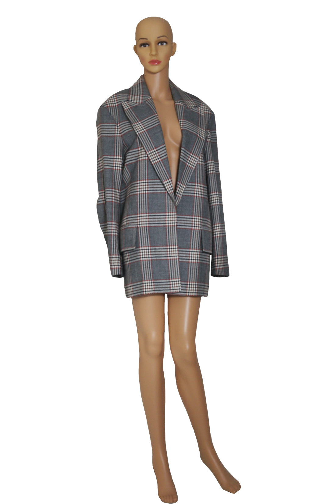 Front view of CELINE Plaid Coat Size: FR 36 (US 4-6)