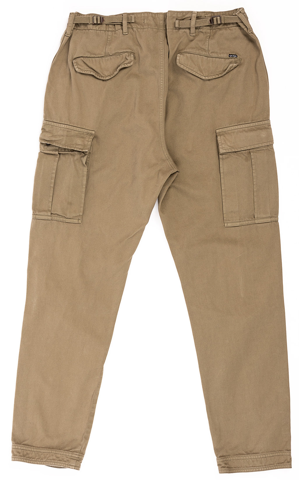 Army green cargo pant with front zipper, side-front pockets, back pockets, front thigh pockets