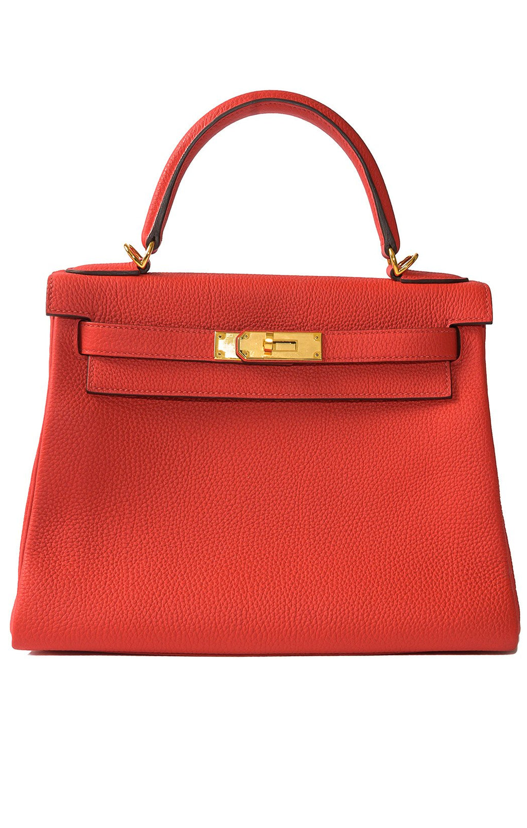 "Front view of HERMES KELLY Handbag Size: 10.5"" W x 8.25"" H x 4.75"" D"