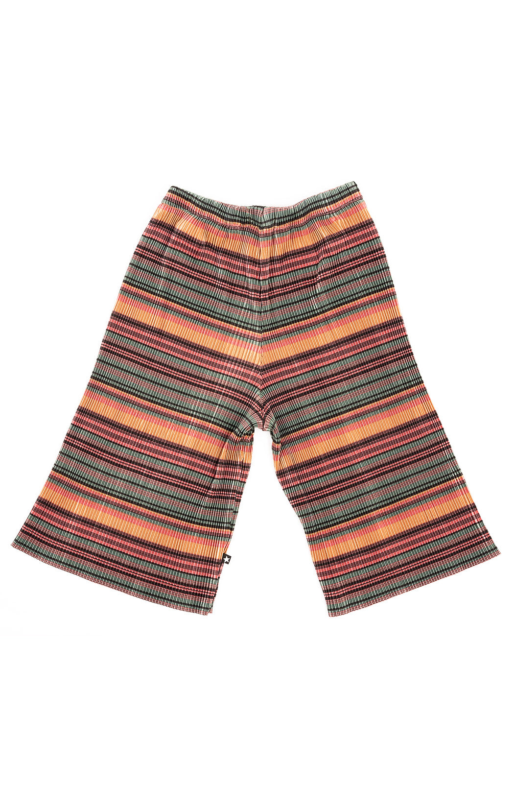Pink green yellow and black stripe accordion pleated pants