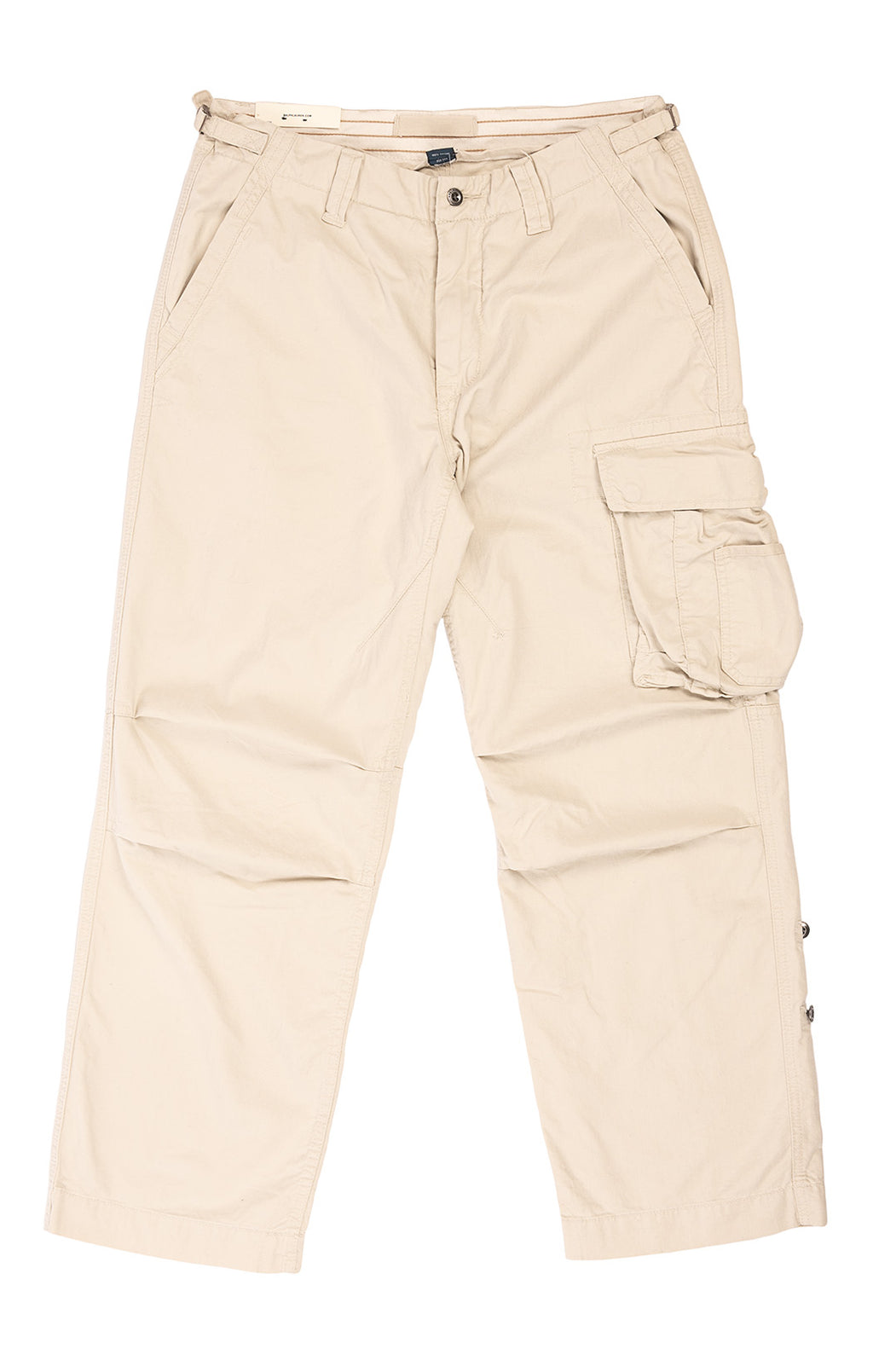 Sand colored cargo pants with front zipper, belt loops, side pockets with one front and two back pockets