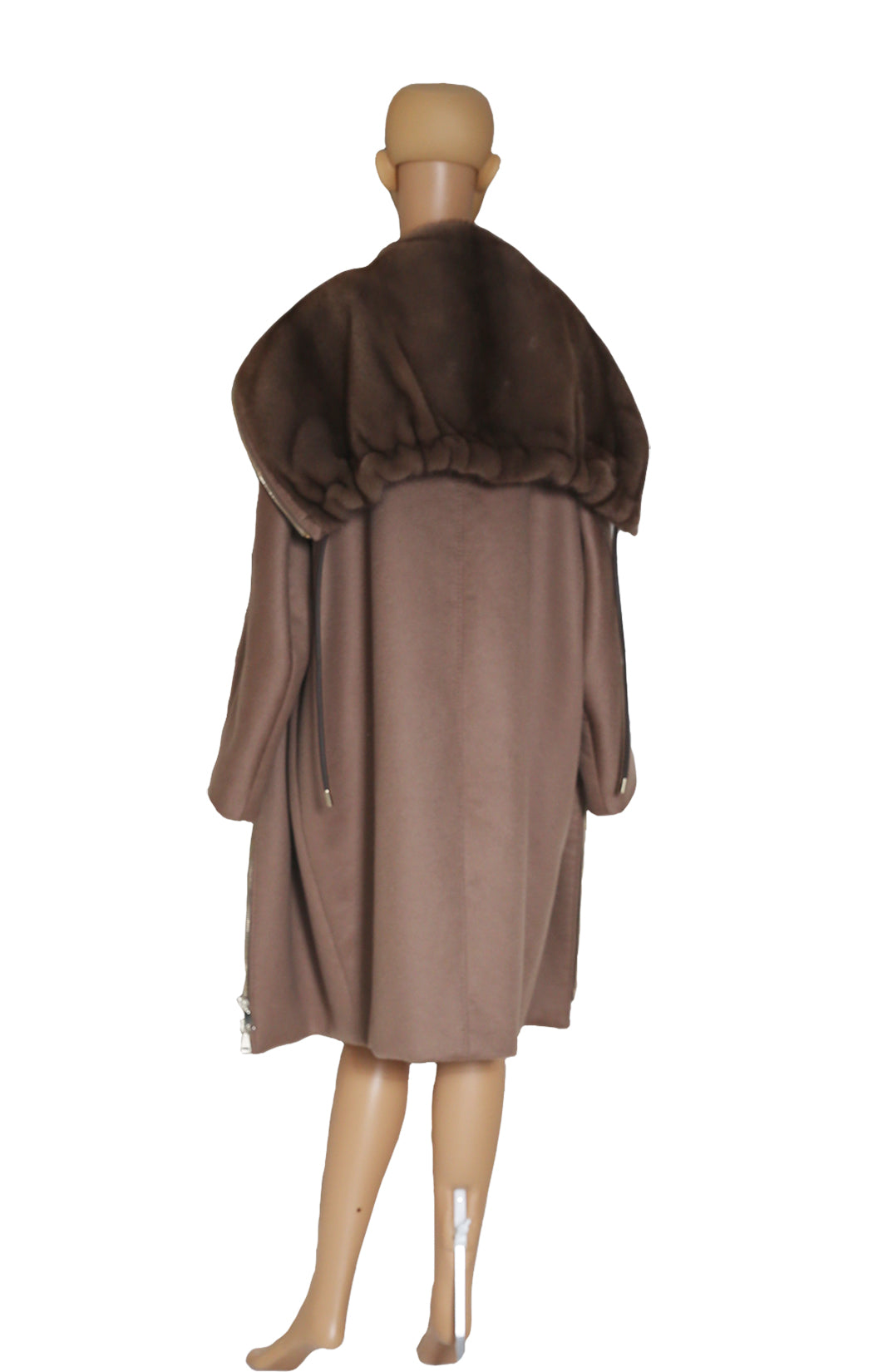 Back view of MAX MARA ATELIER Mink and Cashmere Car Coat