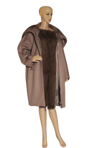 Front view of MAX MARA ATELIER Mink and Cashmere Car Coat Size: No tags, fits like US 8