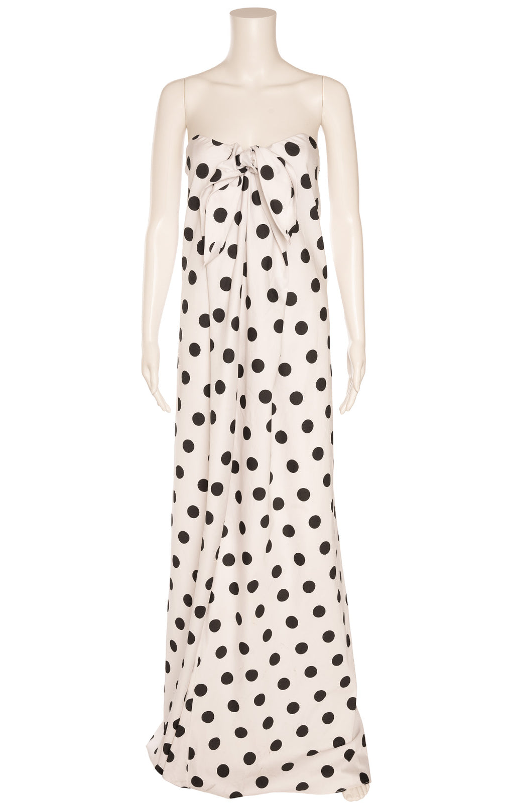 White with black polka dot strapless long dress with underwire bra and back zipper