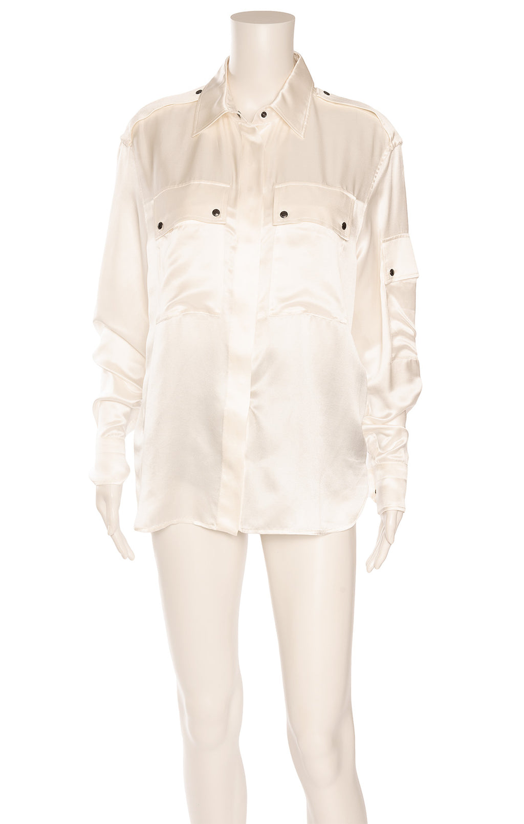 White button down shirt with epaulets at shoulders, patch bodice pockets, one side sleeve pocket and sheer back