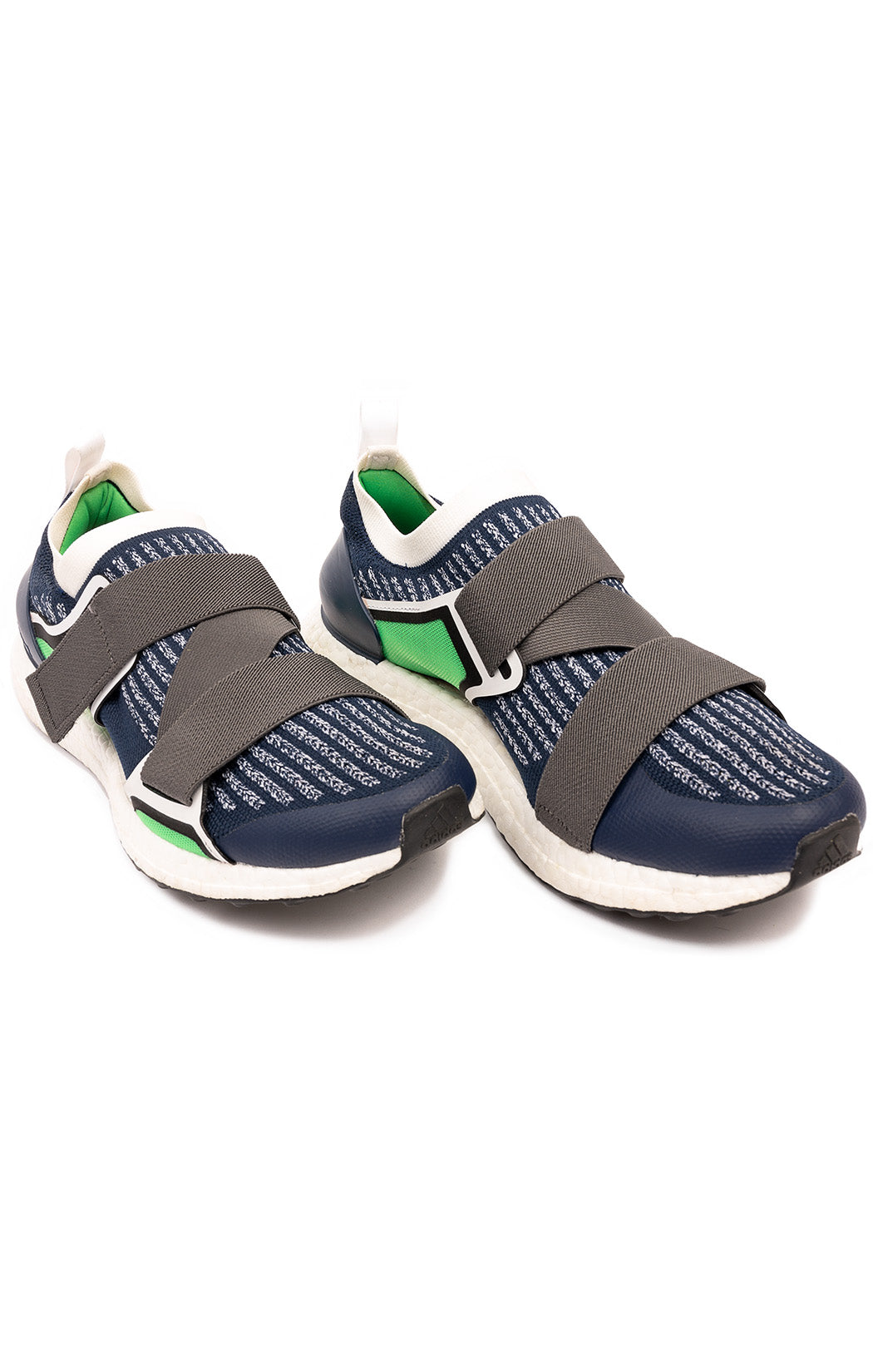 Navy white gray and green fabric slip-on tennis shoe with white soles