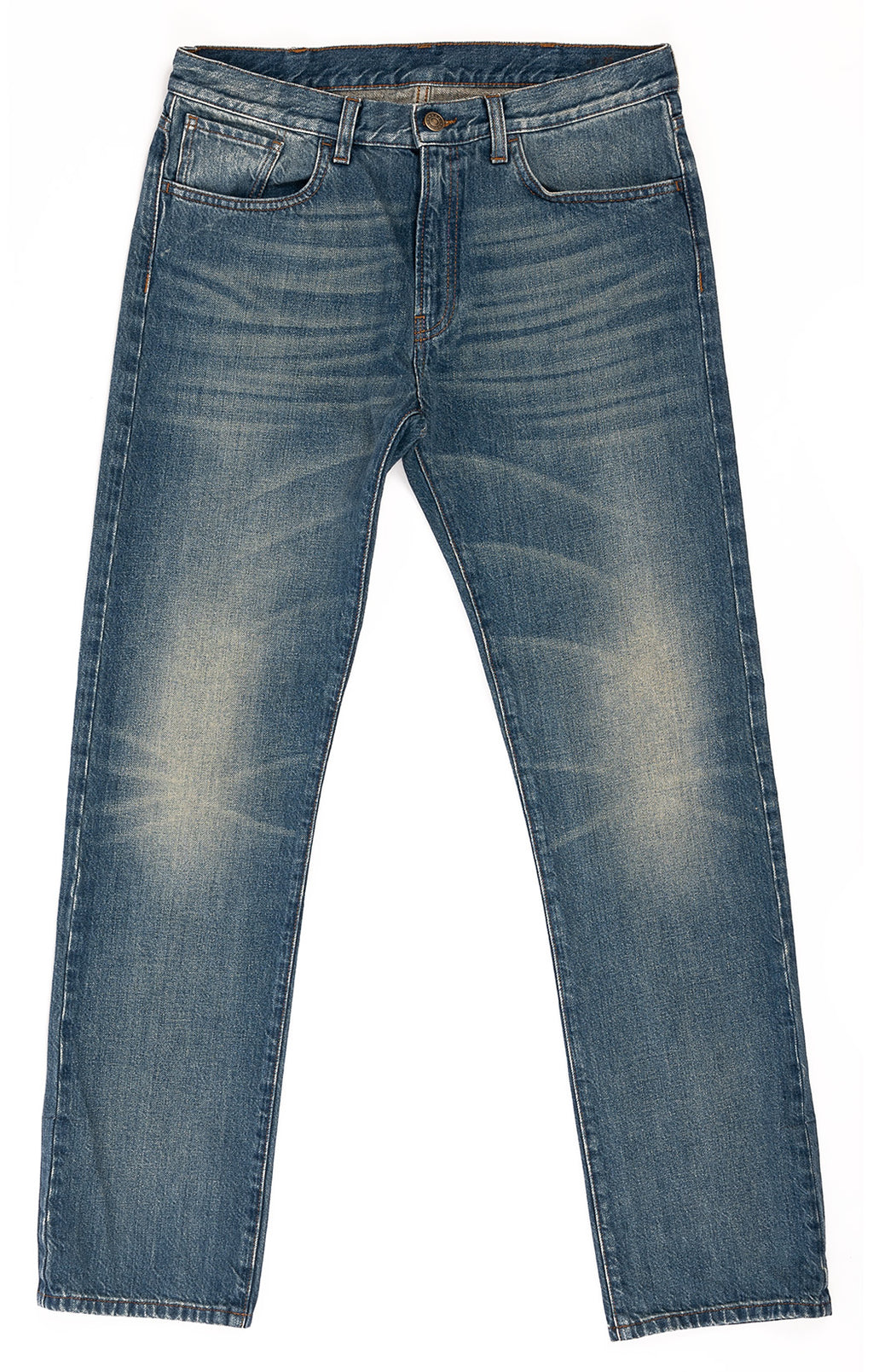 Denim fade and distressed five-pocket style jeans