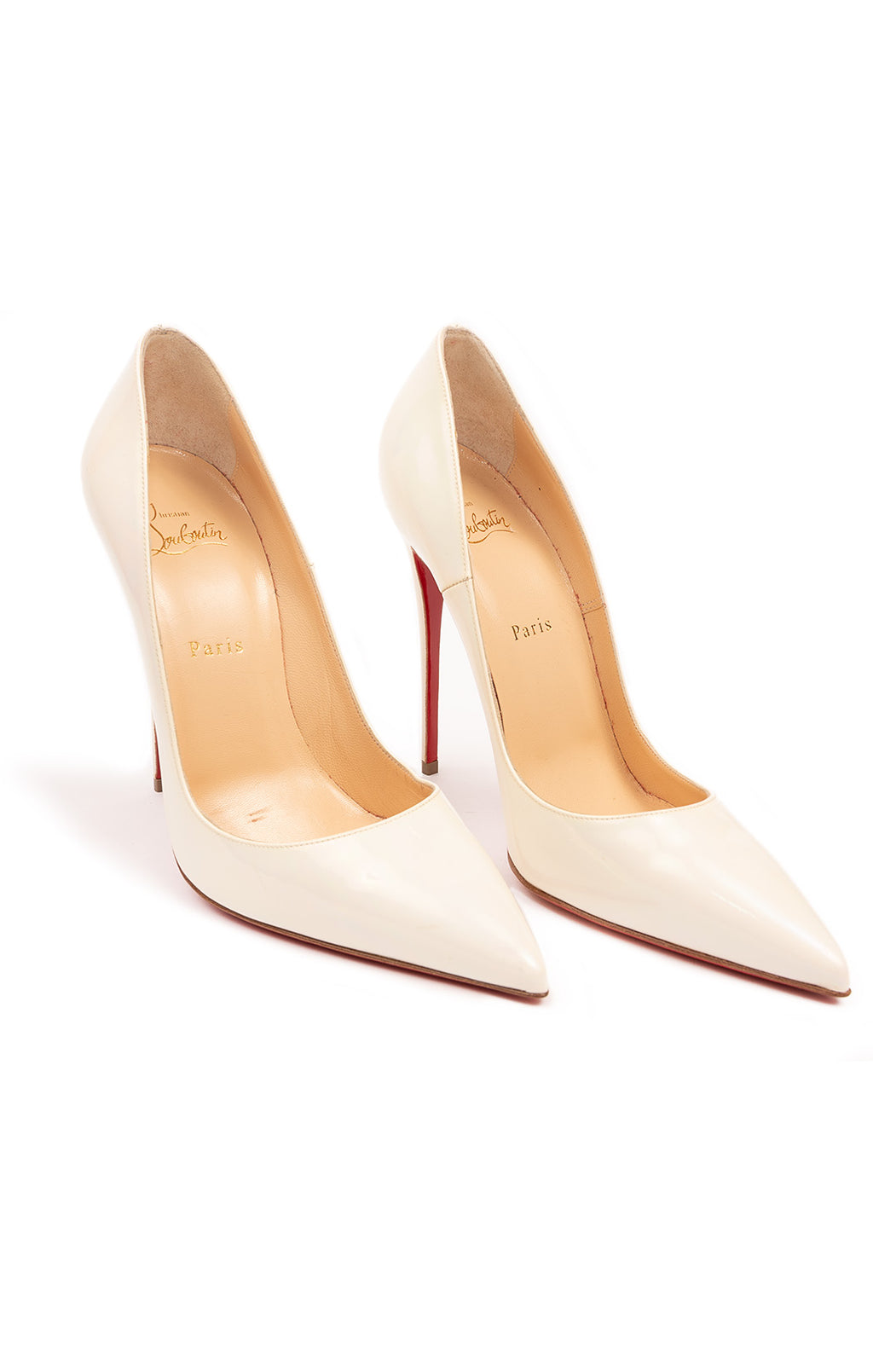 "Ivory classic pointed toe pump with 5"" heel"
