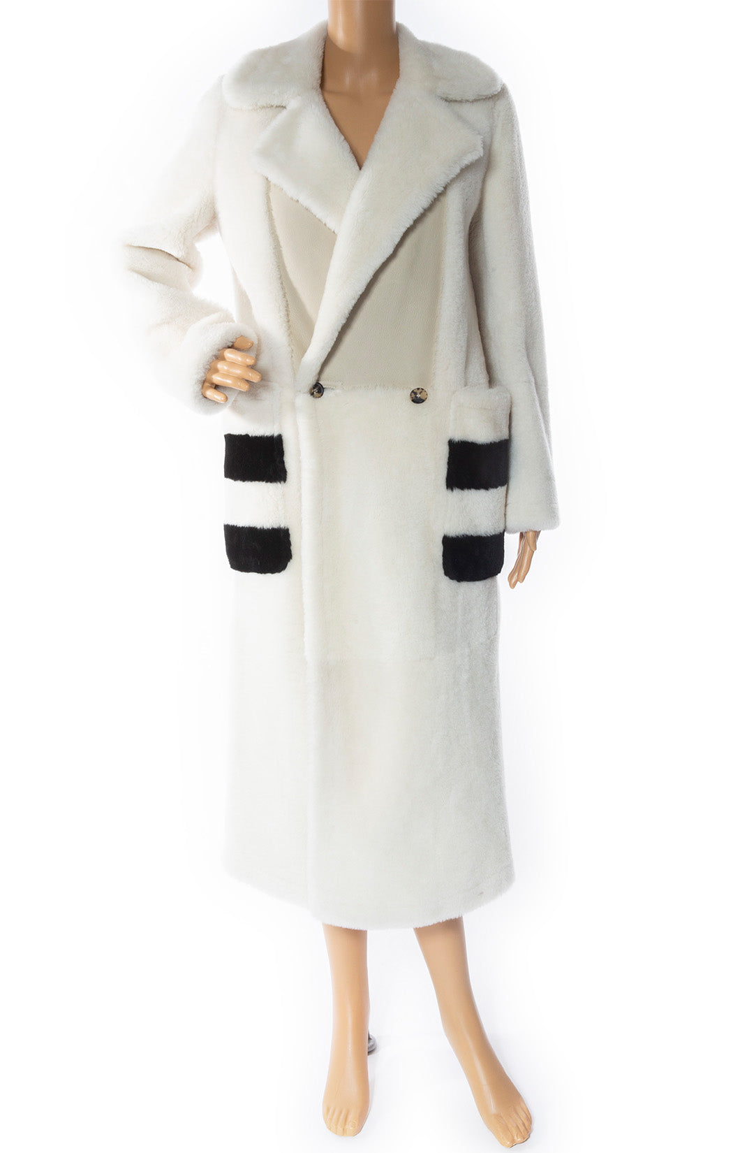 Front view of MAX MARA Fur Coat with Tags Size: US 2 (oversized)