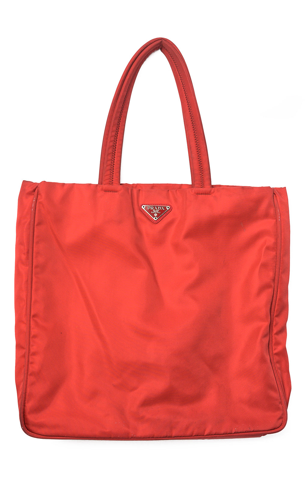 "Front view of PRADA Tote Size: 13.5"" W x 13"" H x 2.75"" D"