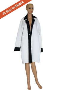As seen on KUWTK, Front view of CELINE Ivory and Black Coat with Tags Size: FR 38 (US 6)