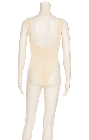 Ivory small open weave sleeveless bodysuit with low neck and decoration around neckline