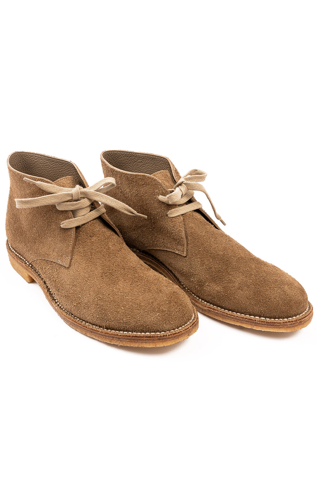 "Brown suede lace up boot ""Wallabee"" style shoe with rubber sole"