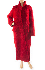 Front view of MAX MARA Dyed Shearling Lamb Coat with Tags Size: US 8