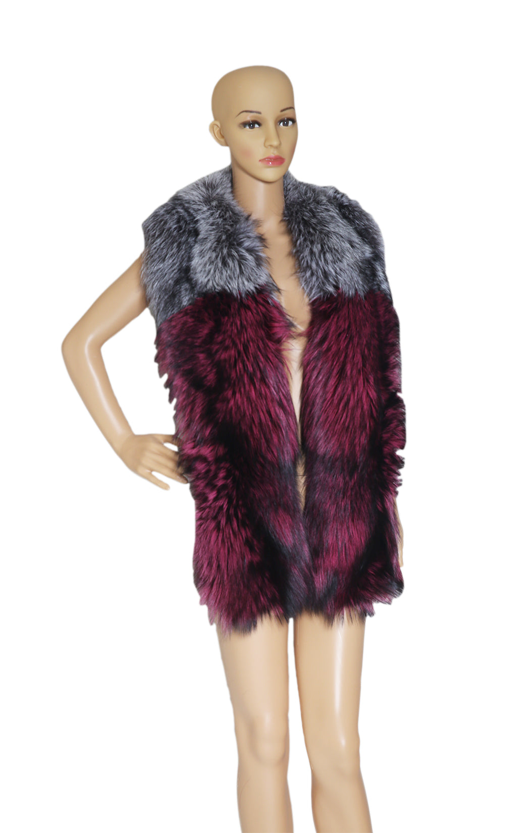 Front view of LYSA LASH Fox Fur Collar with Tags Size: 66 x 8