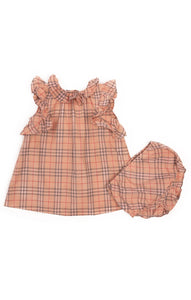 Pink Burberry plaid dress with ruffle sleeves and collar and back button closure