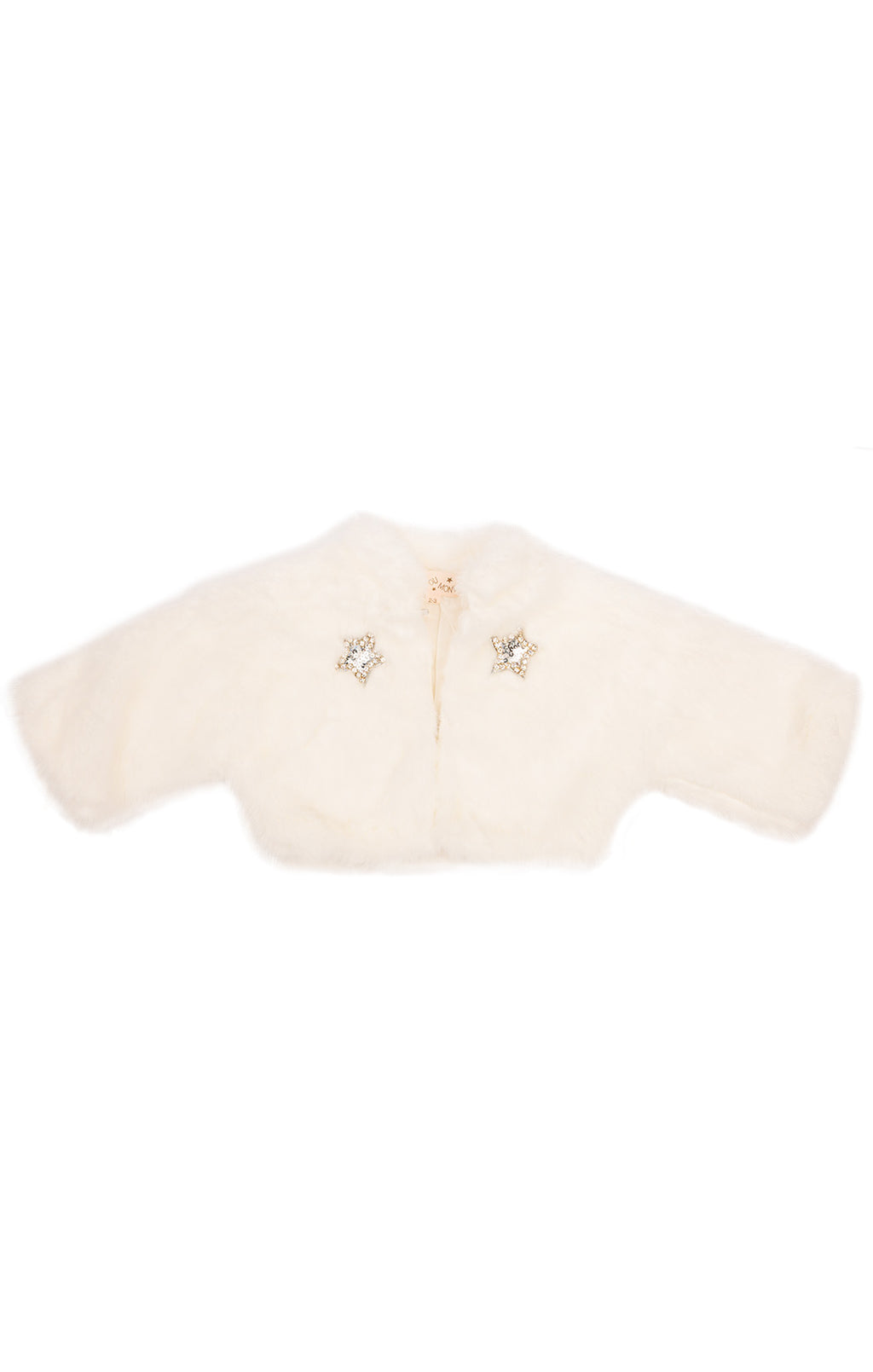 White faux fur long sleeve jacket with silver sequin stars in front with hook closure