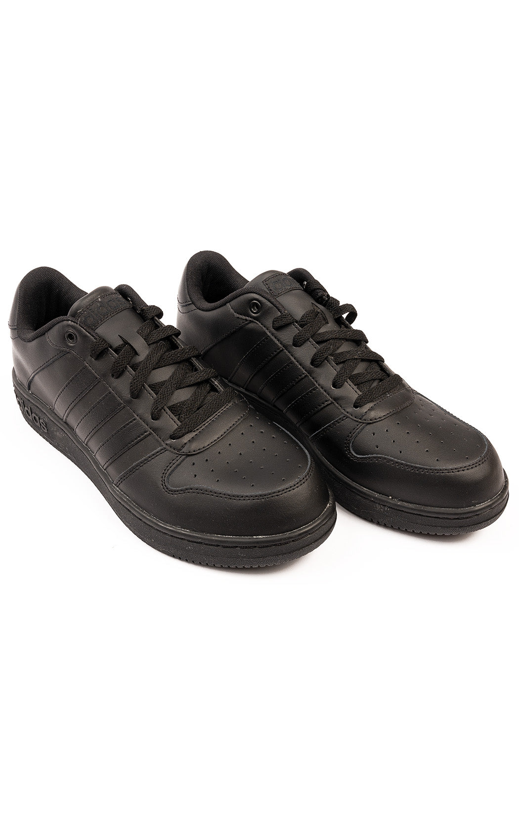 Black leather lace up tennis shoes