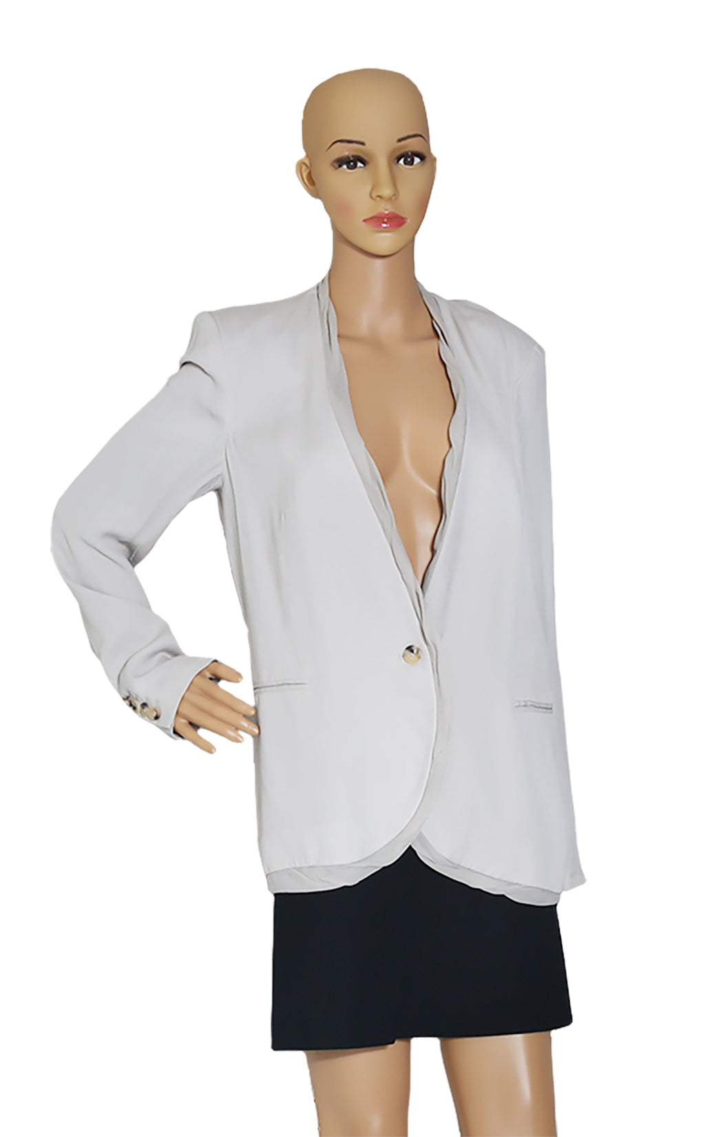 Closeup view of HELMUT LANG Silk Blazer Size: US 8