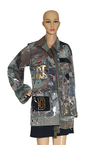 Closeup view of DUST OF GODS  Graffiti Print Jacket Size: No tags, fits size US 10