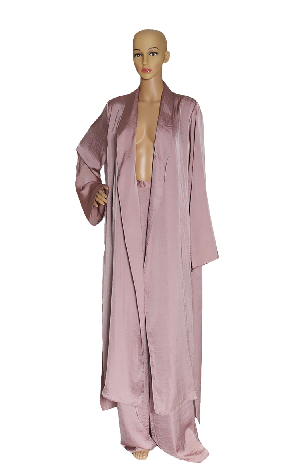Front view of JUAN CARLOS ORLANDO Long Duster Coat and Matching Pant with Tags Size: US 4 (runs full)