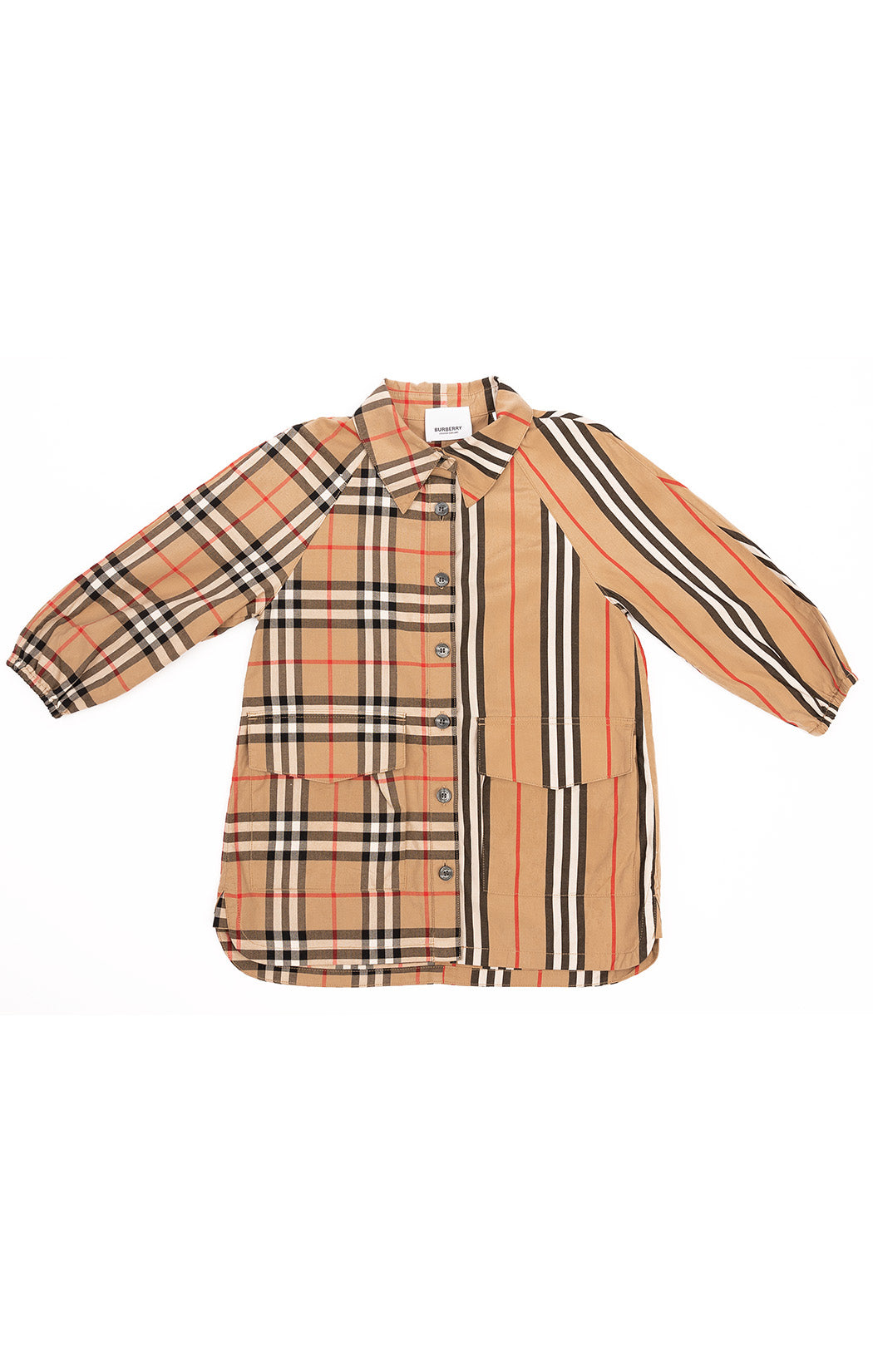 Tan classic Burberry plaid button-down dress with front flap pockets and long sleeves