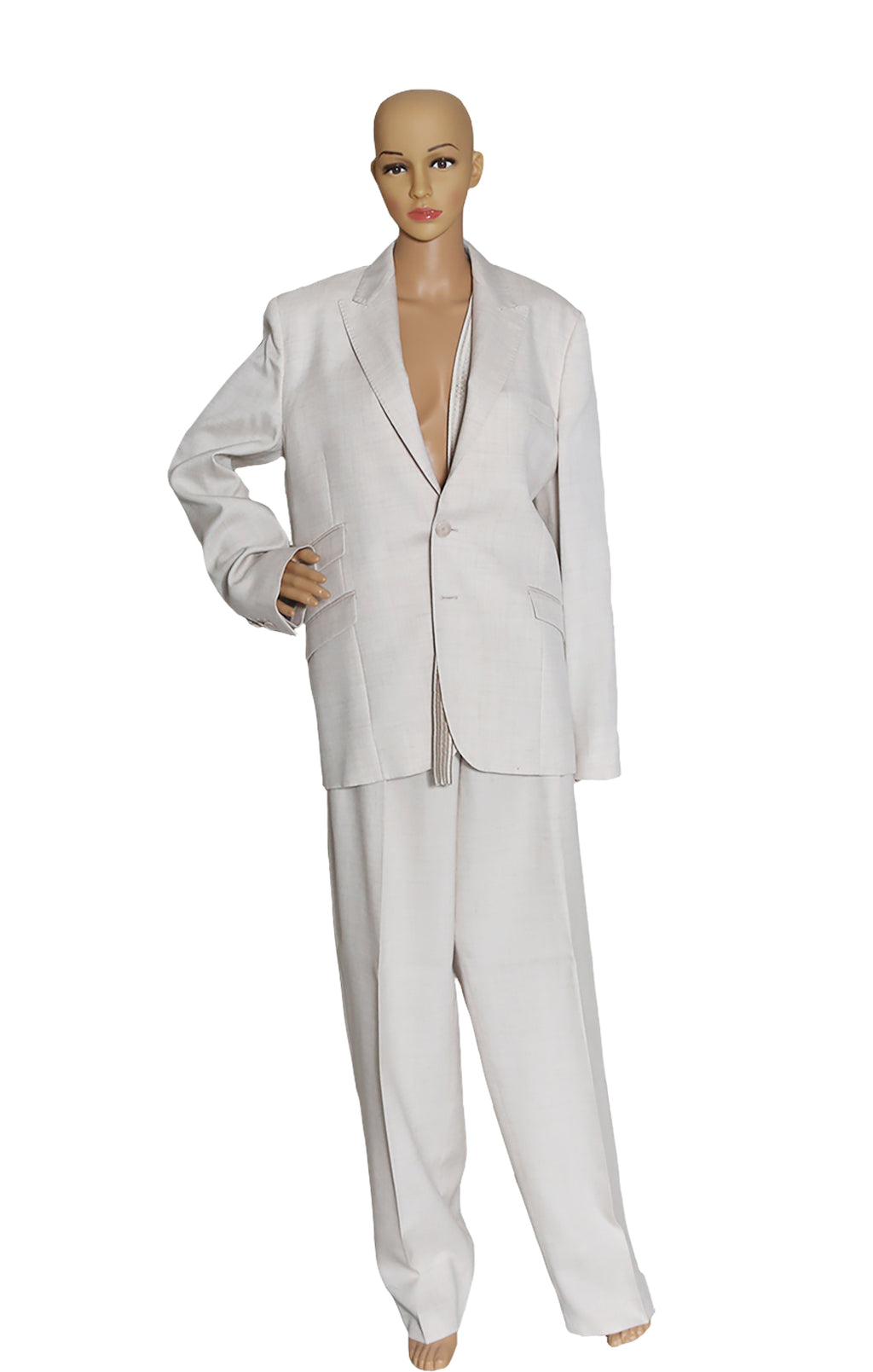 Front view of STELLA McCARTNEY  Beige Linen Pantsuit Blazer Size: IT 40 (US 6), Pant Size: IT 42 (US 8)