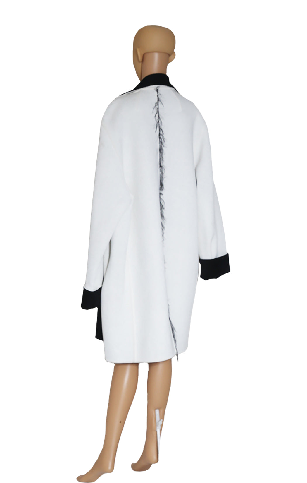 Back view of CELINE Ivory and Black Coat with Tags