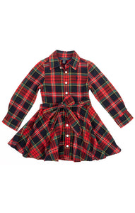 Red navy green traditional plaid long sleeve waist dress with front button closure and matching belt