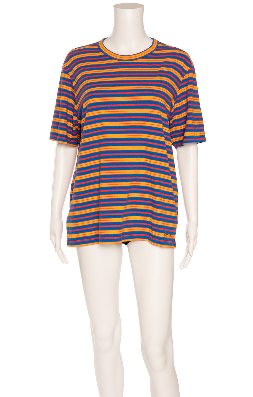Blue orange and red stripe crew neck shirt sleeve t-shirt