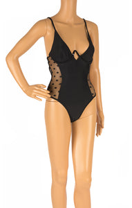 Front view of WHITE FOX with tags One piece bathing suit Size: Small