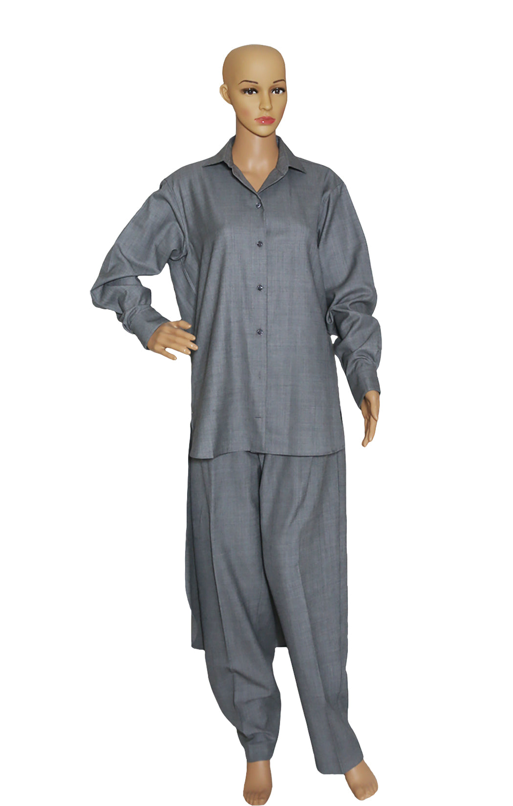 Front view of CELINE  Long Shirt Tunic with Matching Pant Shirt Size: FR 34 (US 4, runs full), Pant Size: FR 42 (US 12)