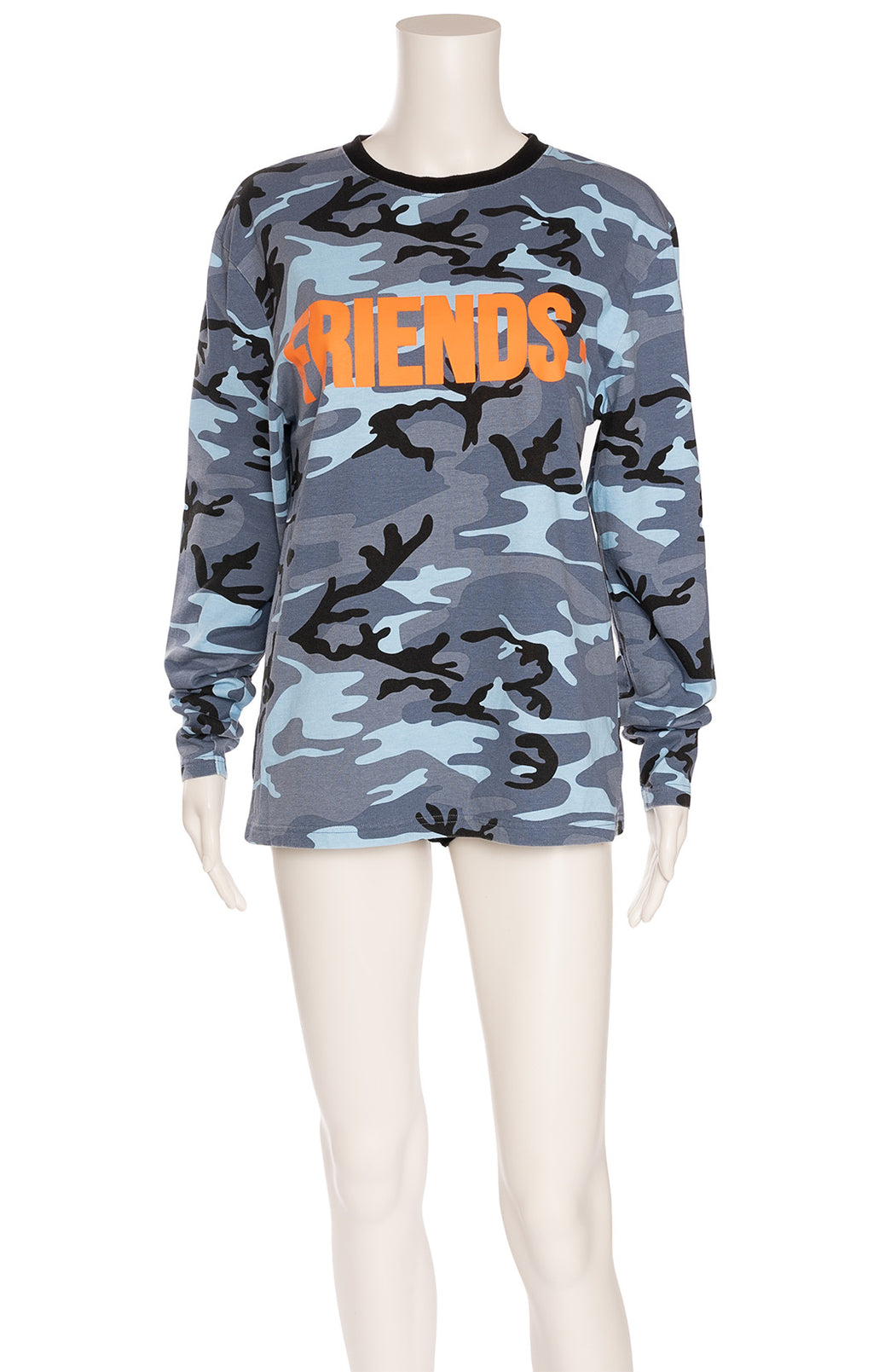 Multi colored blue camouflage long sleeve crew neck t-shirt with orange writing on front and logo on back