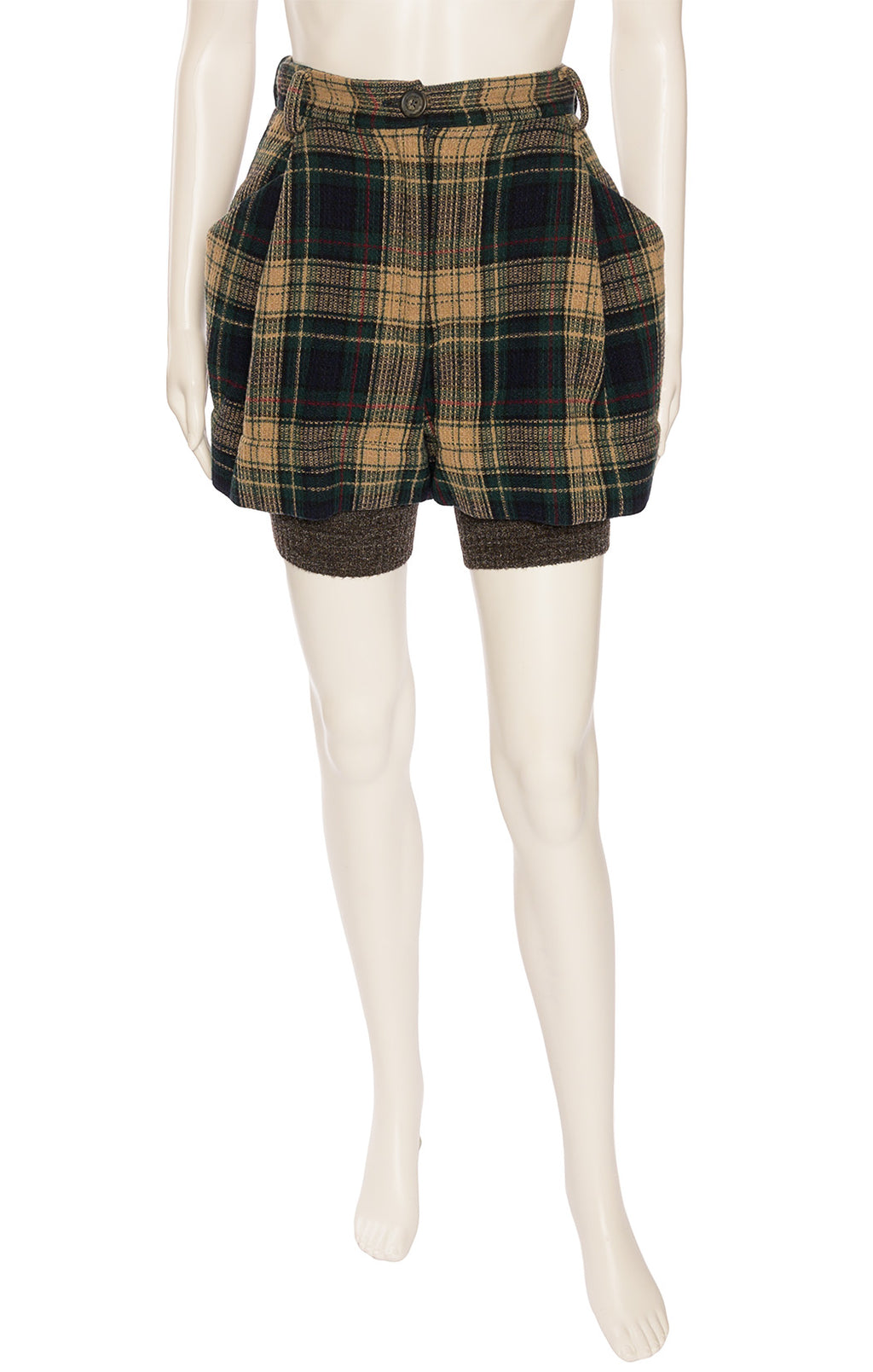 Navy green beige and red plaid pleated shorts with front zipper, belt loops, side and back pockets with attached gray sweater type hemline