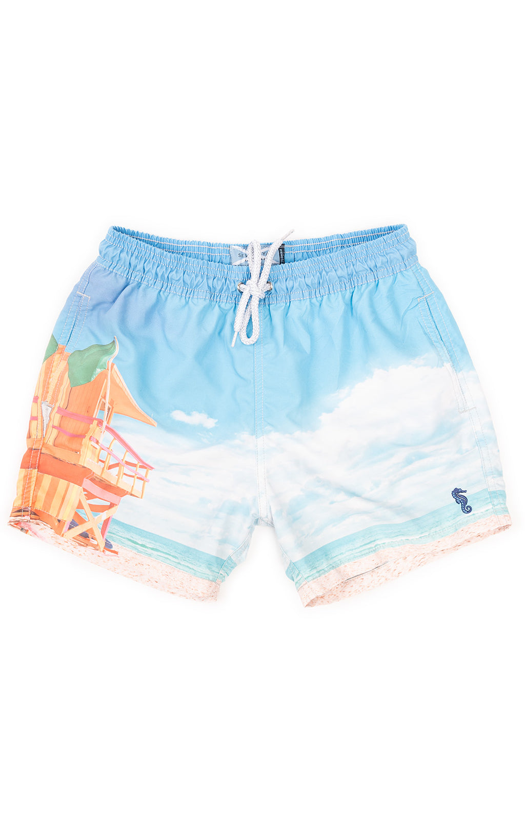 Blue and orange print swim trucks with drawstring waist and side and back pockets
