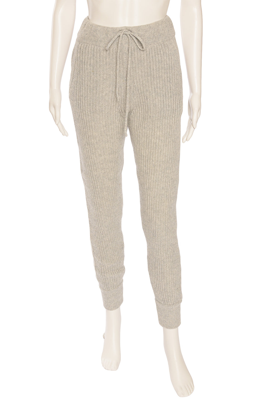 Gray Ribbed knit like sweatpants with drawstring waist and side pockets