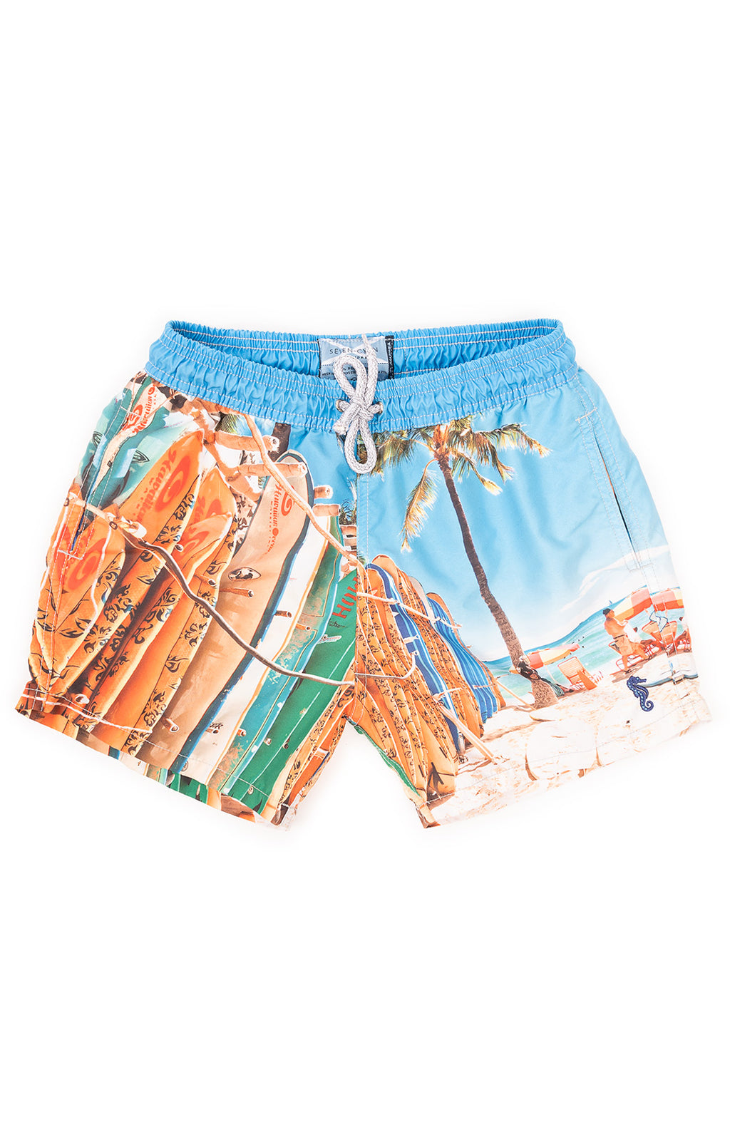 Blue and orange surfboard print swim trucks with drawstring waist and side and back pockets