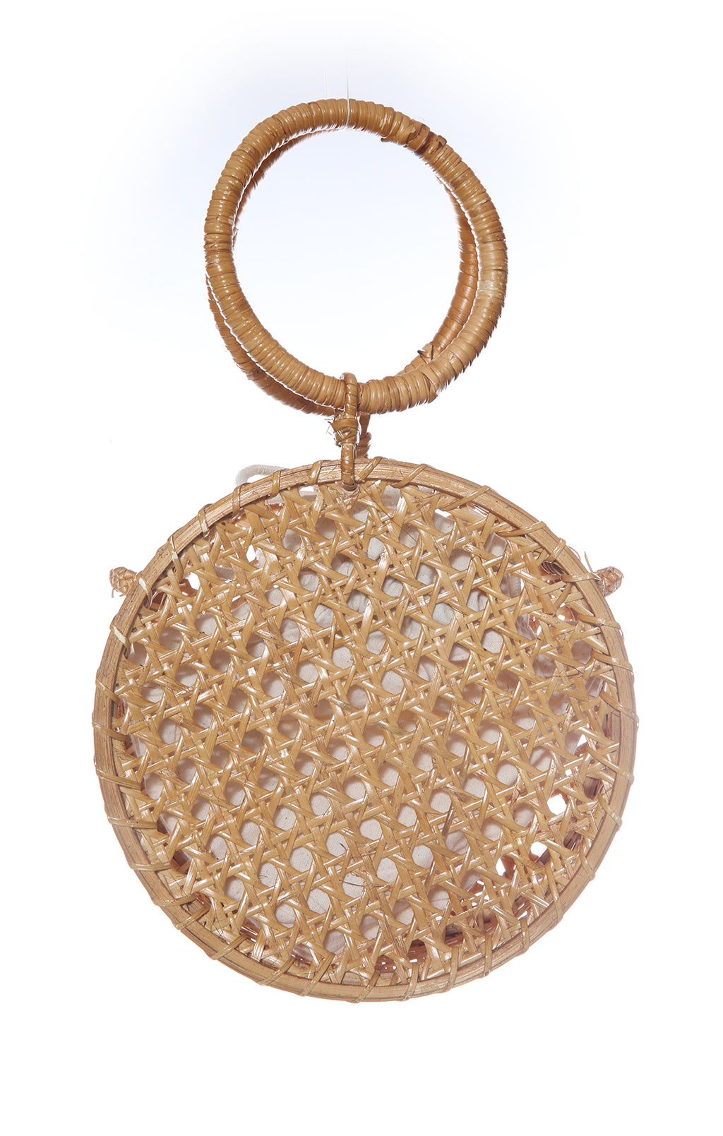 "View of MNG Bamboo Handbag Size: 8"" diameter"